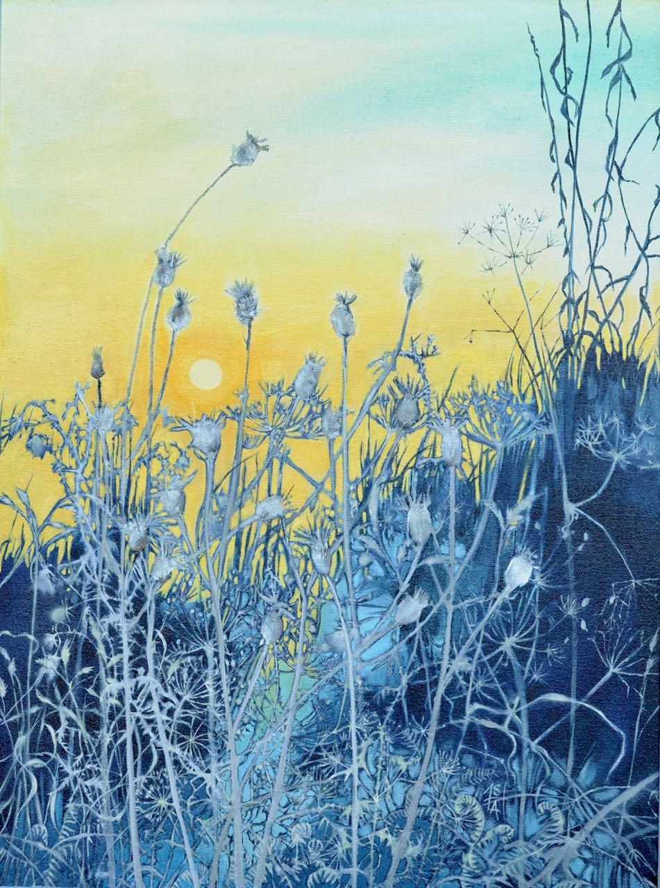 Sheila Anderson-Hardy. Dawn Frost, oil on canvas,framed in soft grey H70xW55