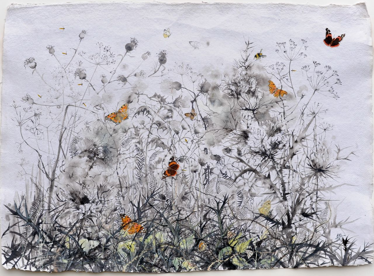 Balanced on the Edge- Sheila Anderson-Hardy sumi-e ink and watercolour on khadi paper mounted on board framed (white) H63xW84cm