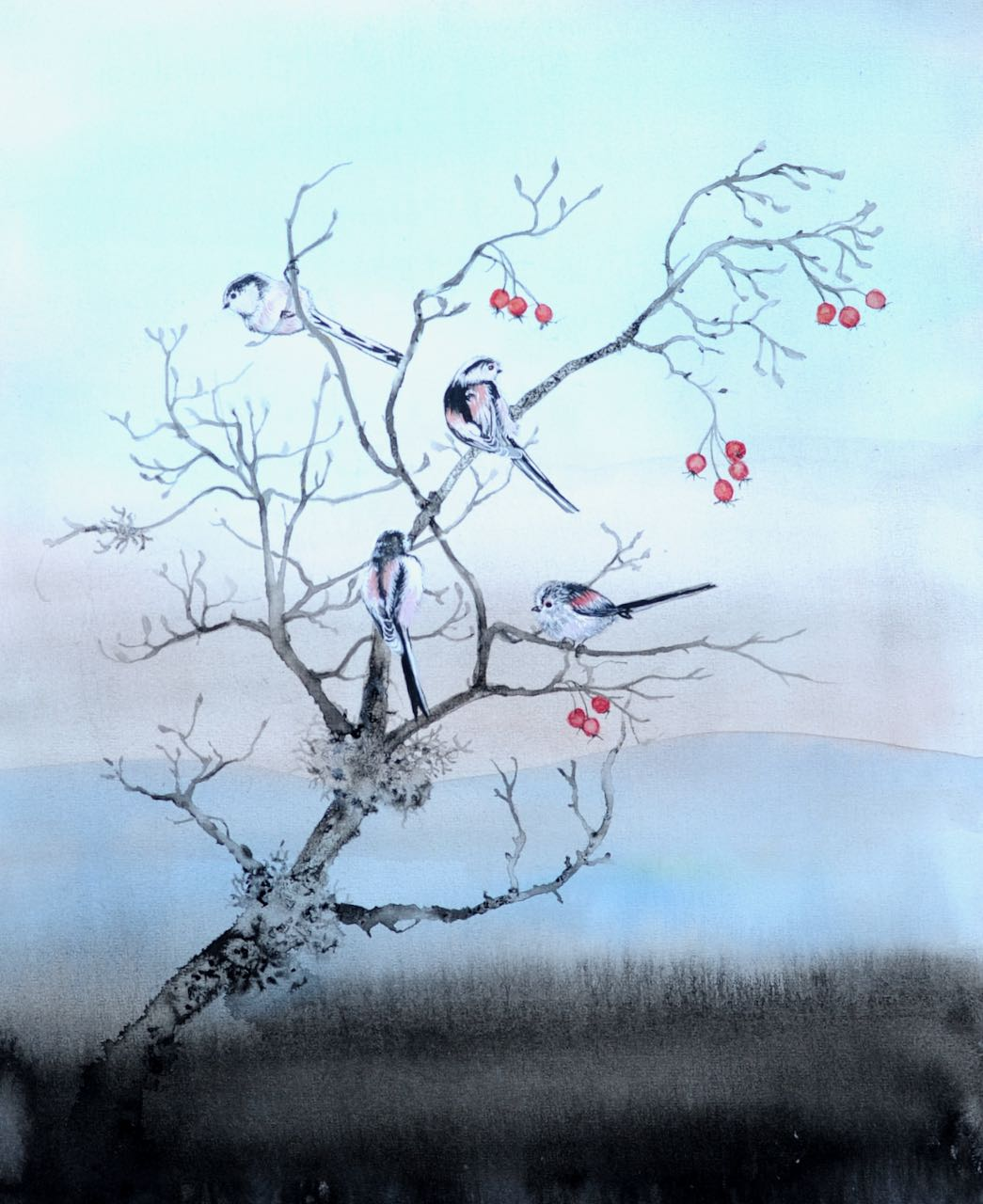 SAH-Hawthorn with Long Tailed Tits, Ink & watercolour on paper U/F imageH43xW36cm