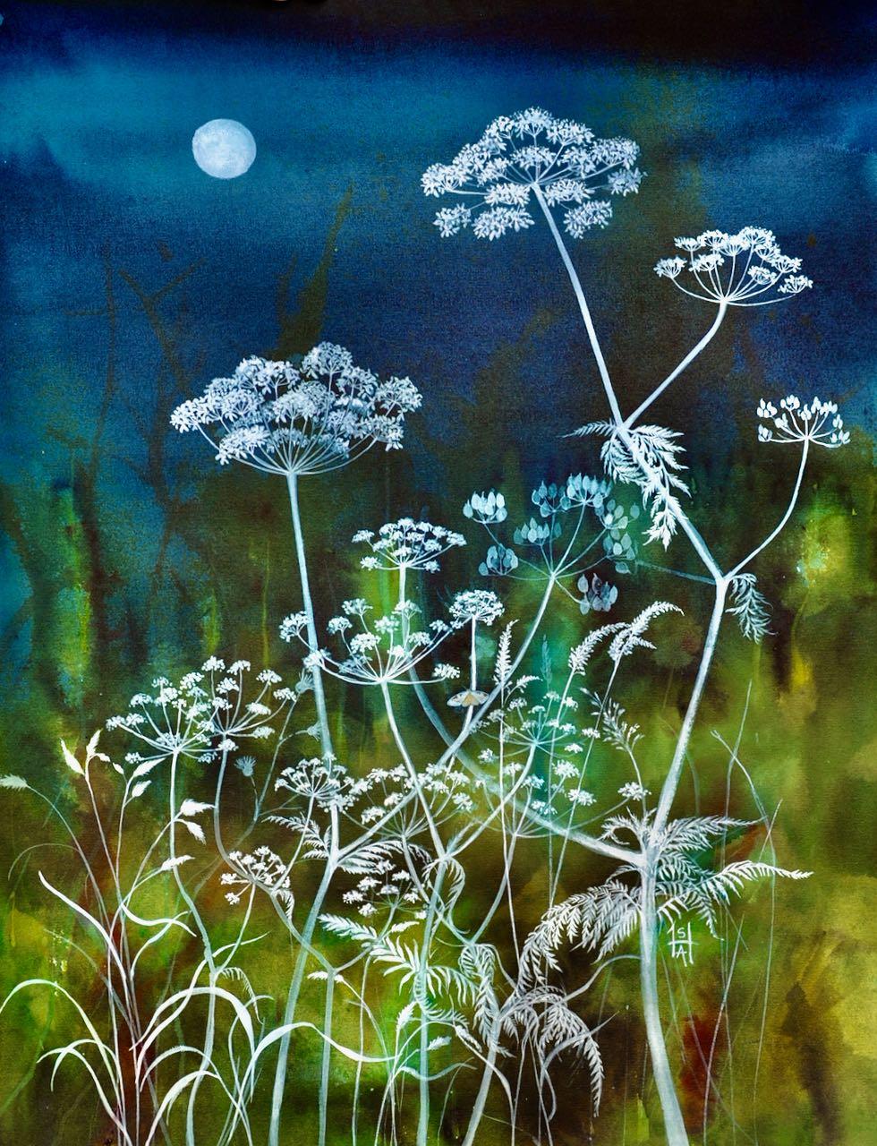 SAH-Night-life, watercolour &gouache on paper, U/F image H47xW37cm