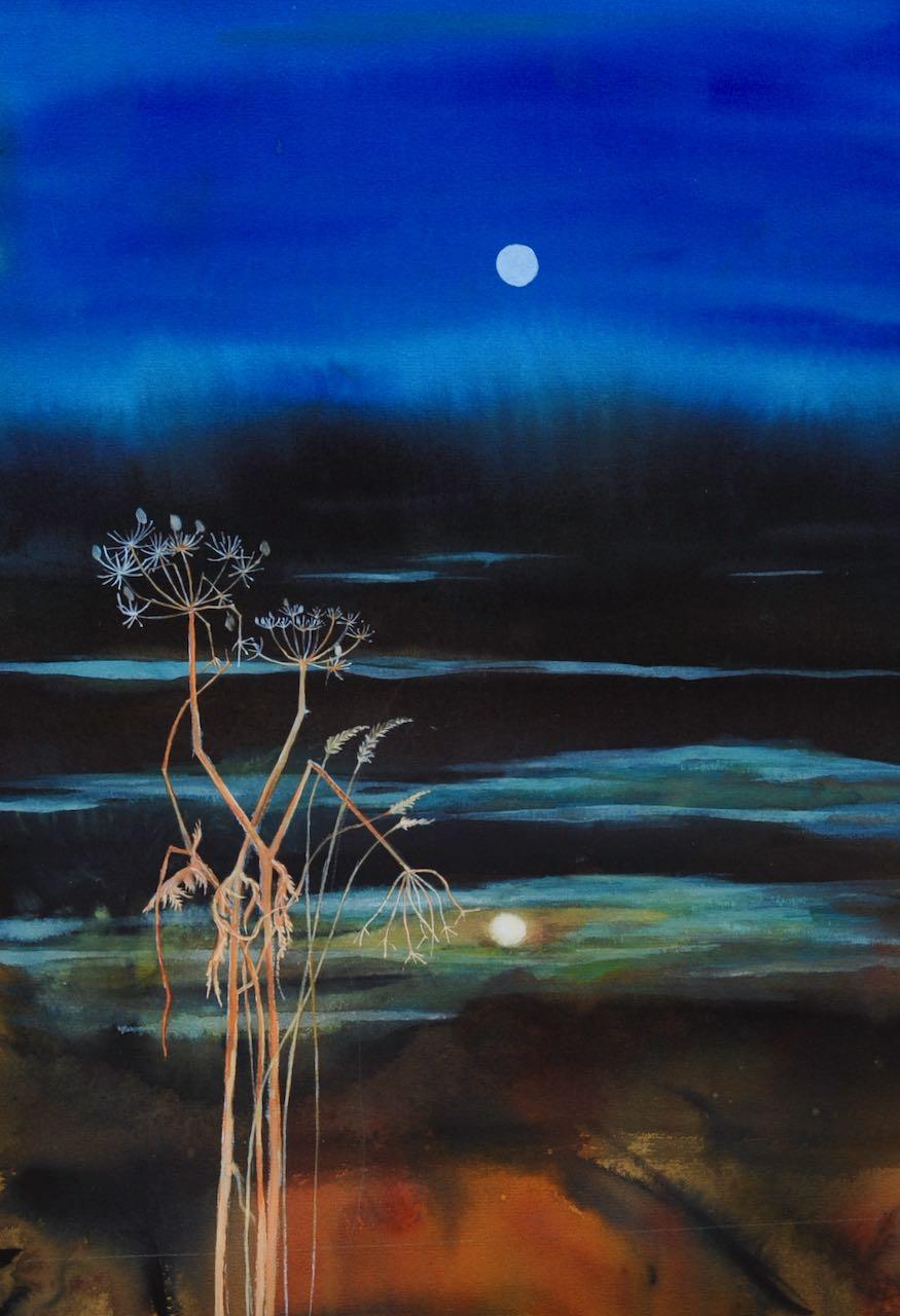 SAH-Reflection, watercolour & gouche on paper U/F, image H42xW30cm
