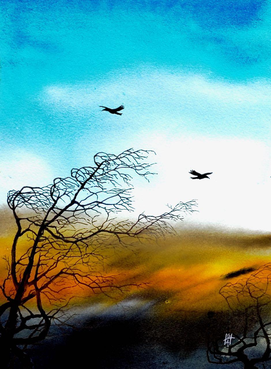 SAH-On the Breeze, watercolour on paper U/F H38xW28cm