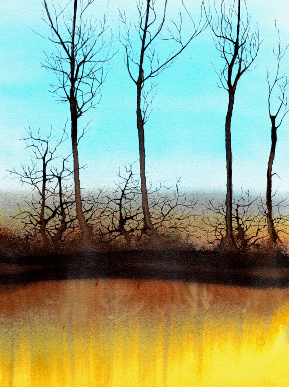 SAH-Winter Tones, watercolour on paper, U/F imageH38xW28cm