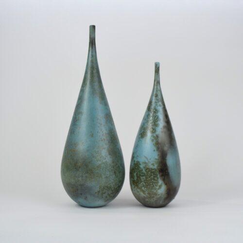 Janene Woudby. Blue Bottle forms  JW1A - 33.5cm tall JW1B - 27 cm tall