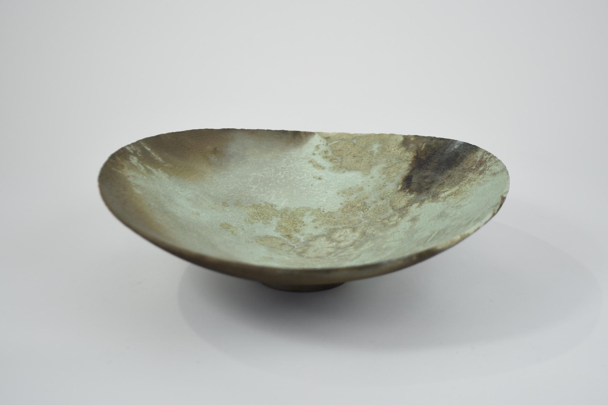 Large green asymmetric bowl JW11