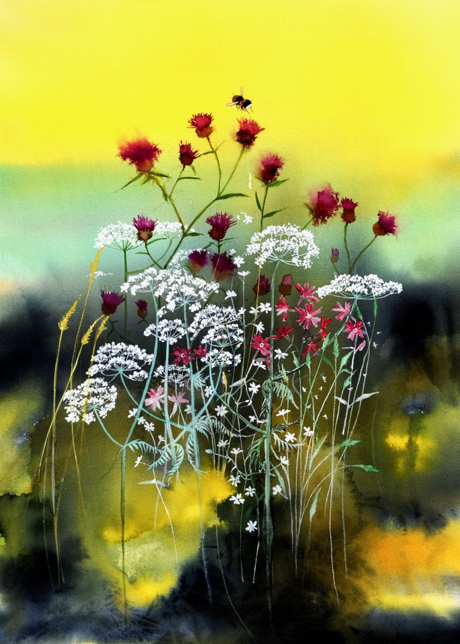 SAH-Golden Morn, watercolour and gouache on paper, U/F image H44xW33cm