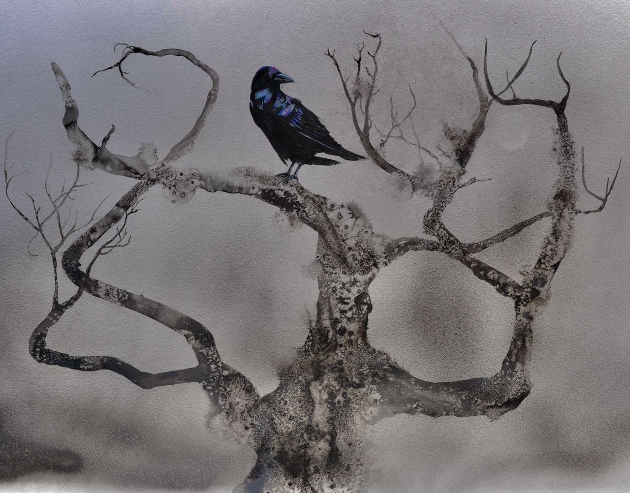 "SAH ""Sentry"" ink & watercolour framed (black)H83xW96cm"