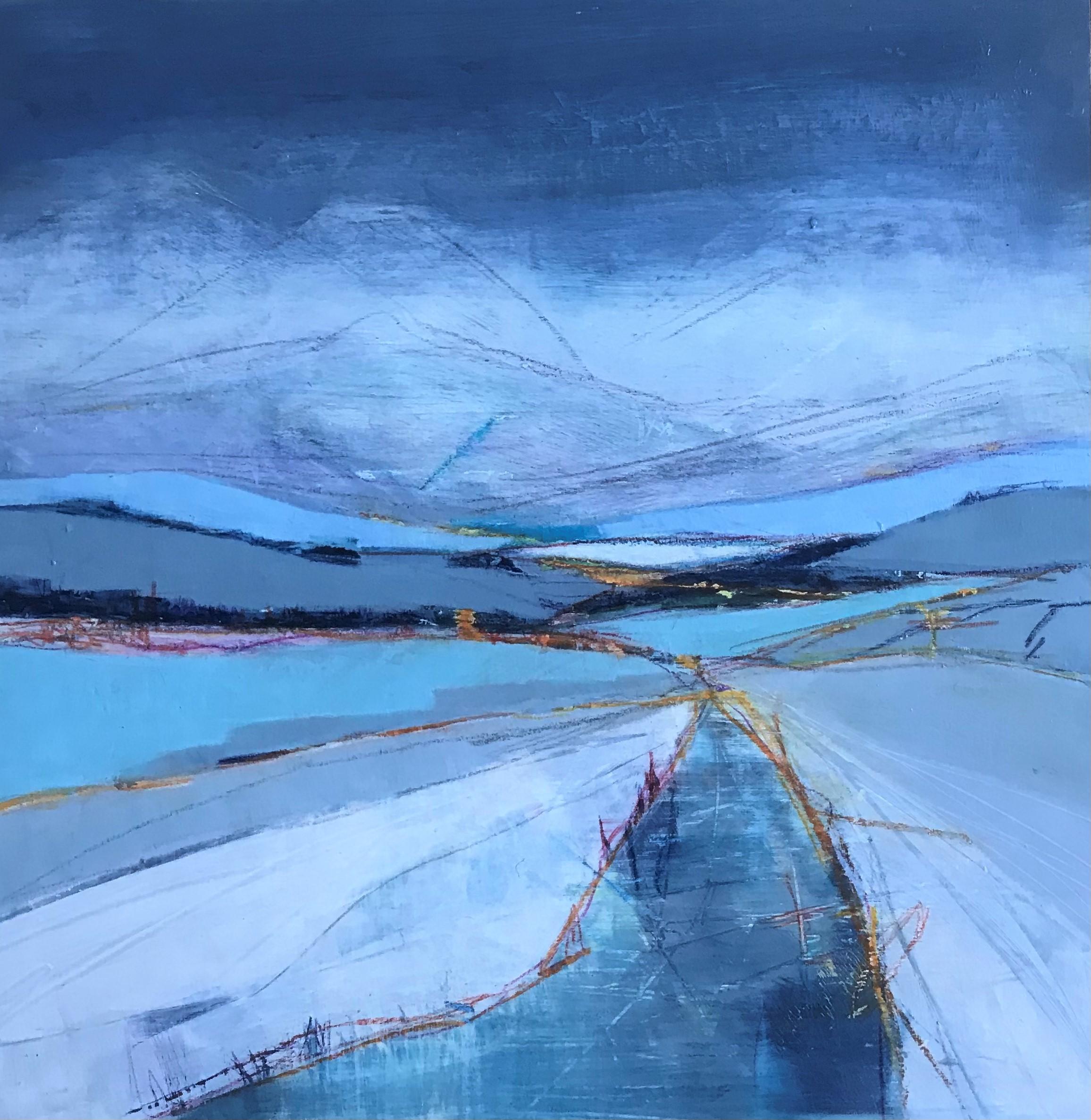 Annie Green, Clean blue air, mixed media on board, 34x34cm- framed