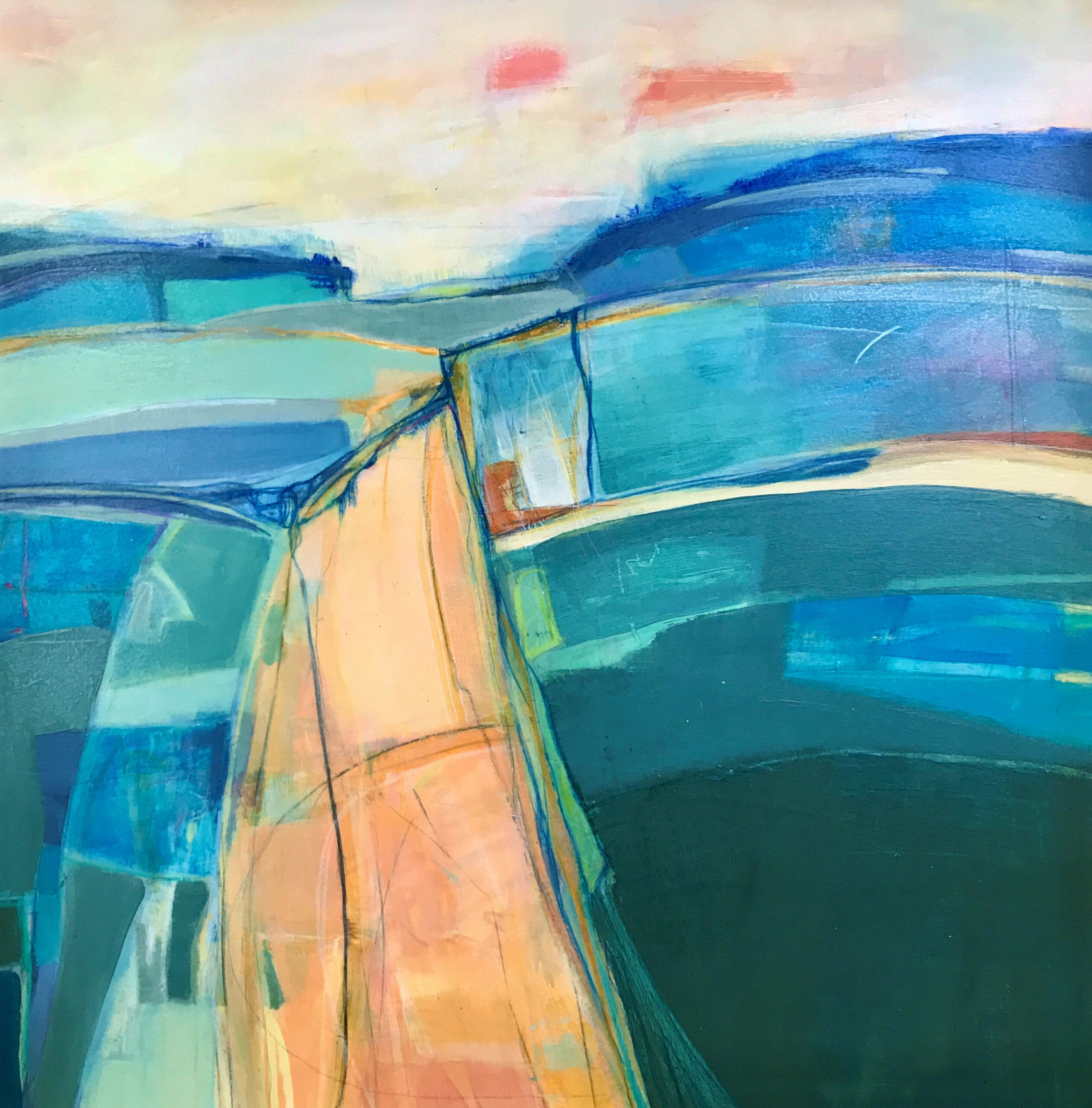Annie Green, Layers of the landscape, mixed media on- board, 57x57cm framed
