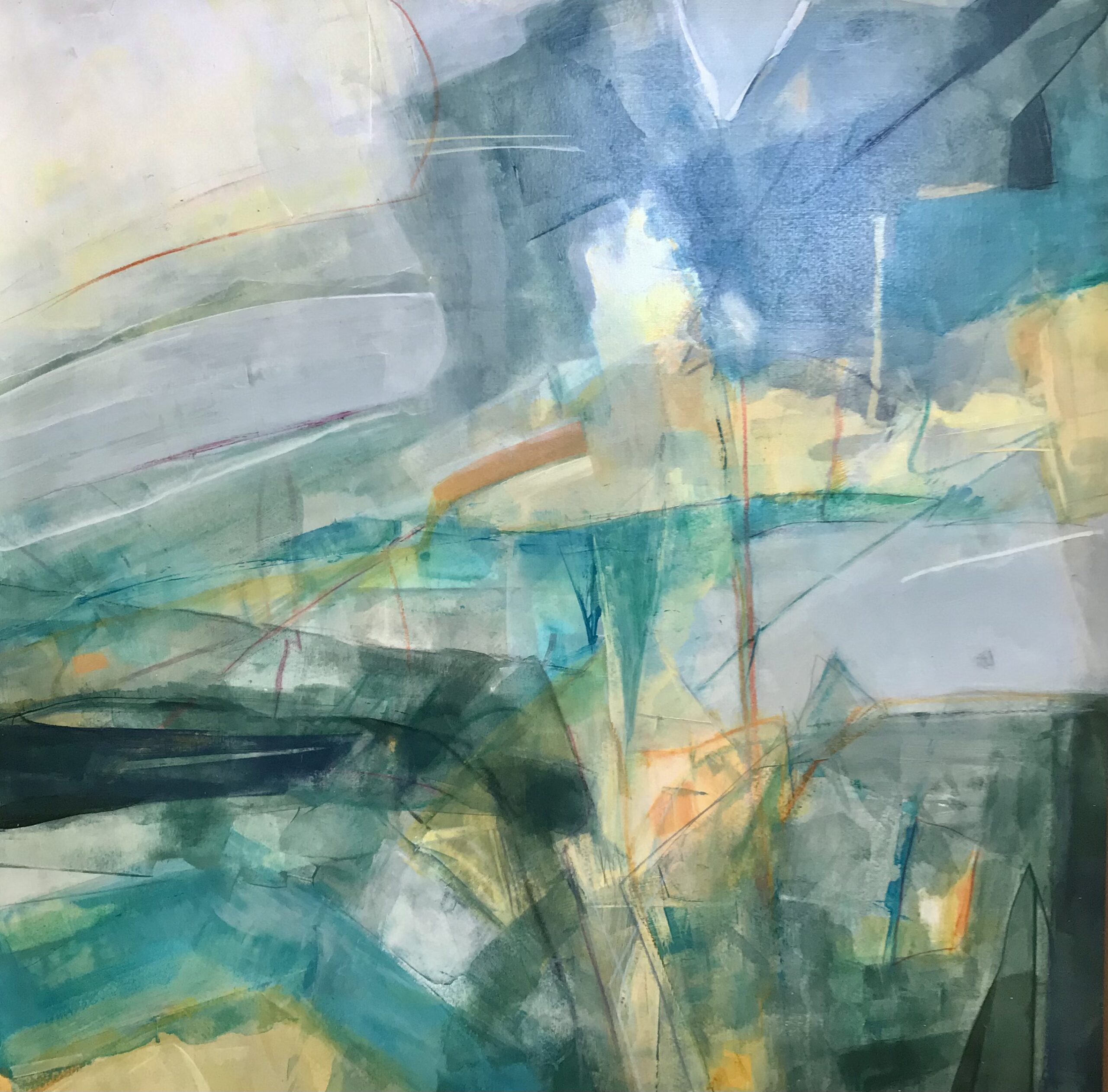 Annie Green, Made of light, mixed media on board, 56x56cm- framed