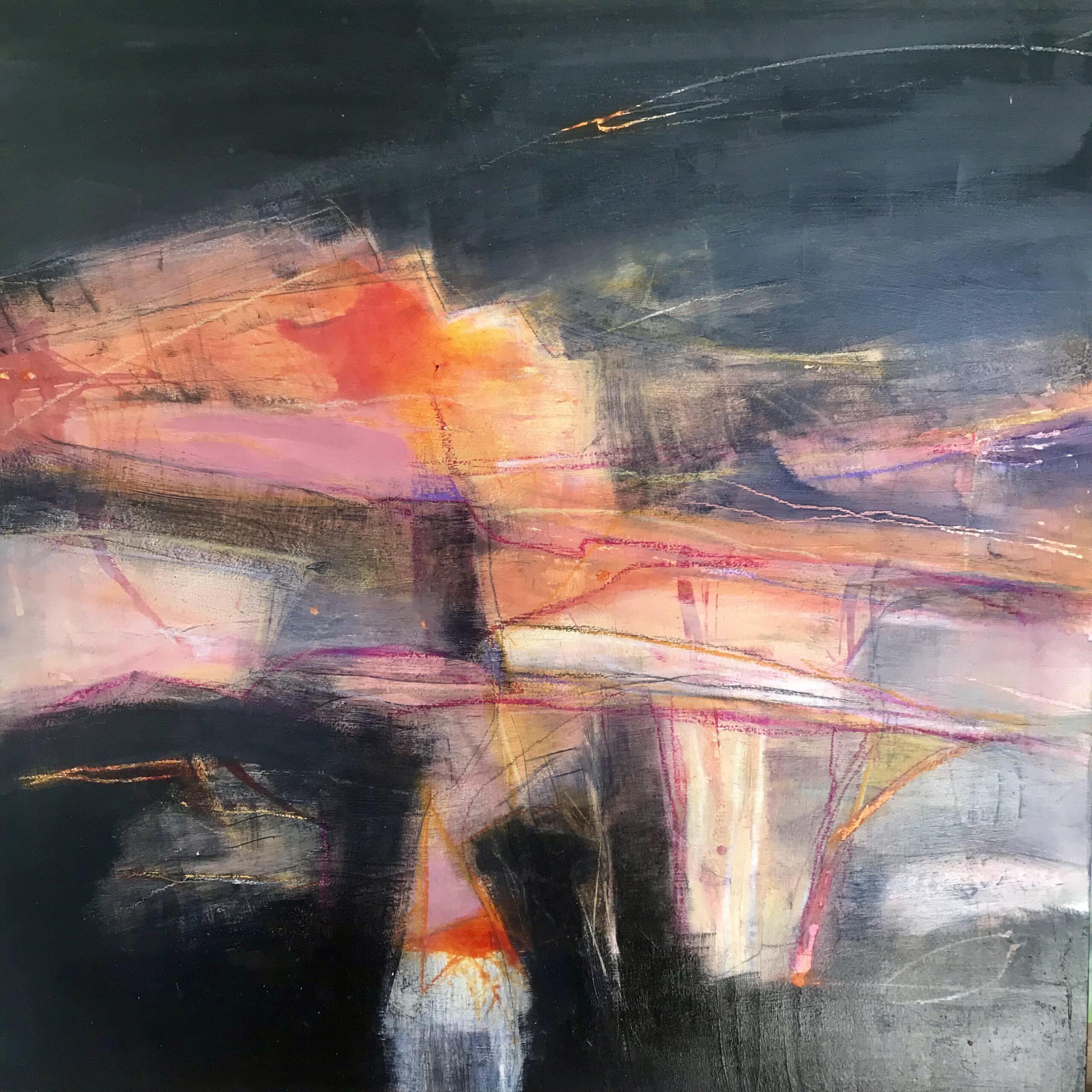 Annie Green, Sun's fiery kiss, mixed media on board,- 44x44cm framed