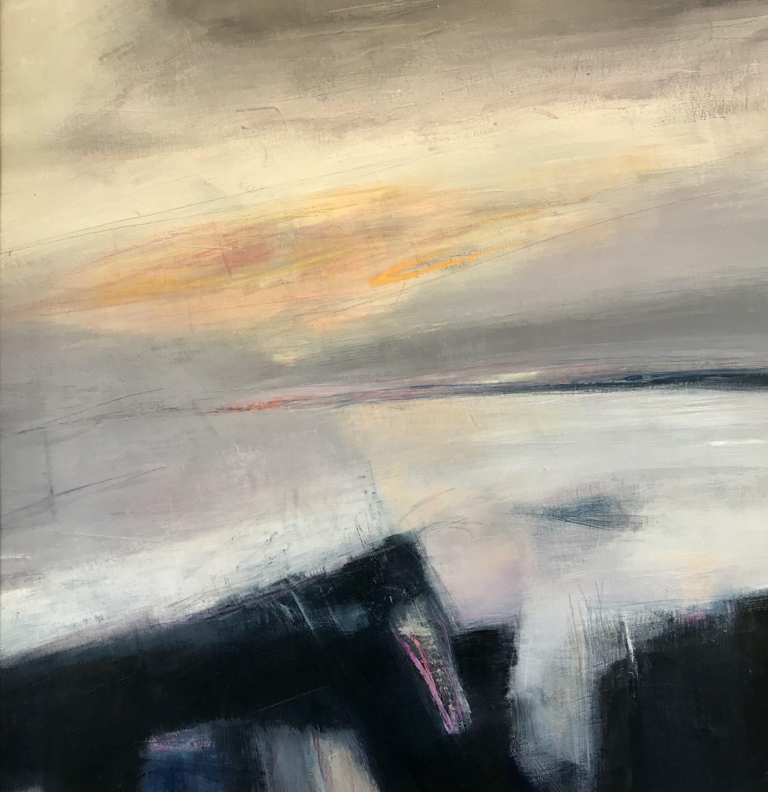 Annie Green, The sky grew dark, mixed media on board,- 64x64cm framed