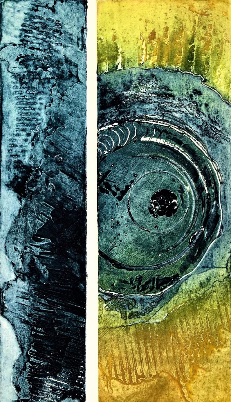 Gill Thompson. Eroded - collagraph print