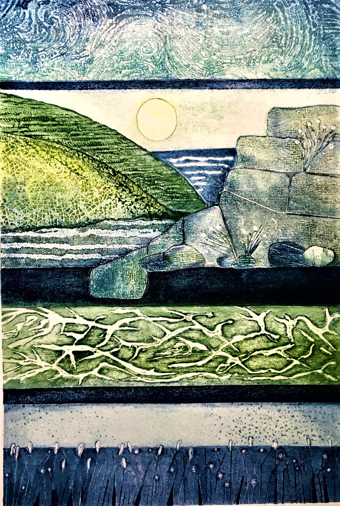Gill Thompson. Tidelines - collagraph print