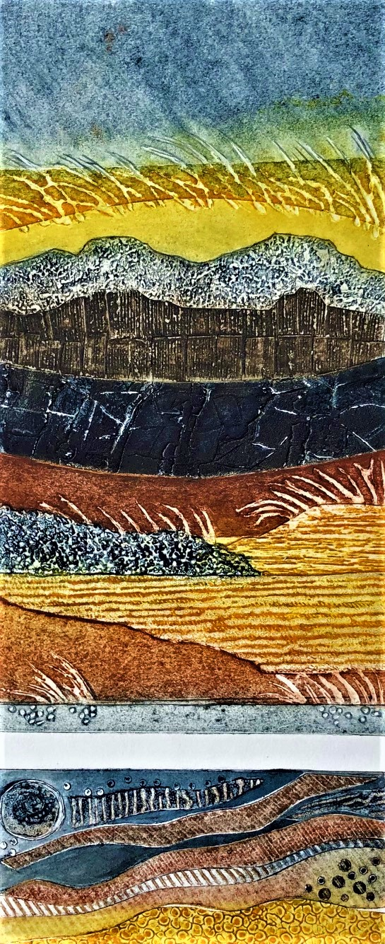 Gill Thompson. Land marks - collagraph print