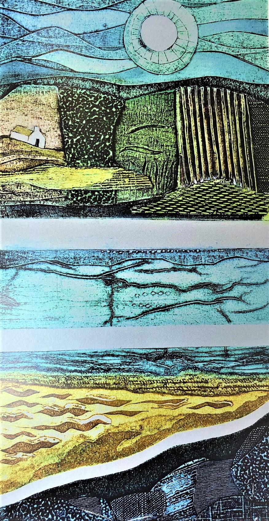 Gill Thompson. Landlines - collagraph print