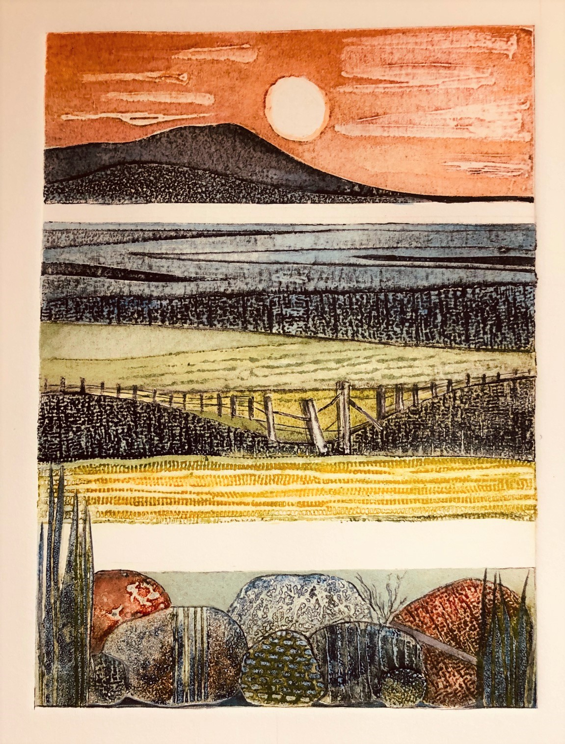Gill Thompson. Over the water - collagraph print