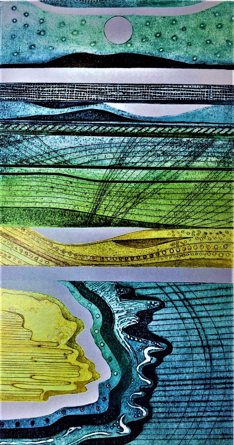 Gill Thompson. Strandlines - collagraph