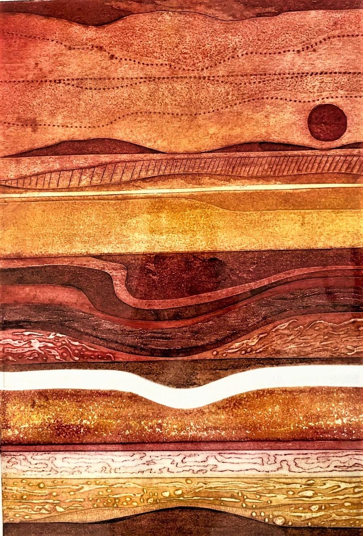 Gill Thompson. Sundown - collagraph print