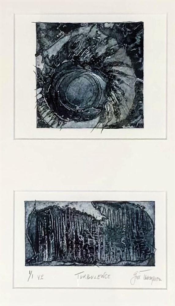 Gill Thompson. Turbulence - collagraph print