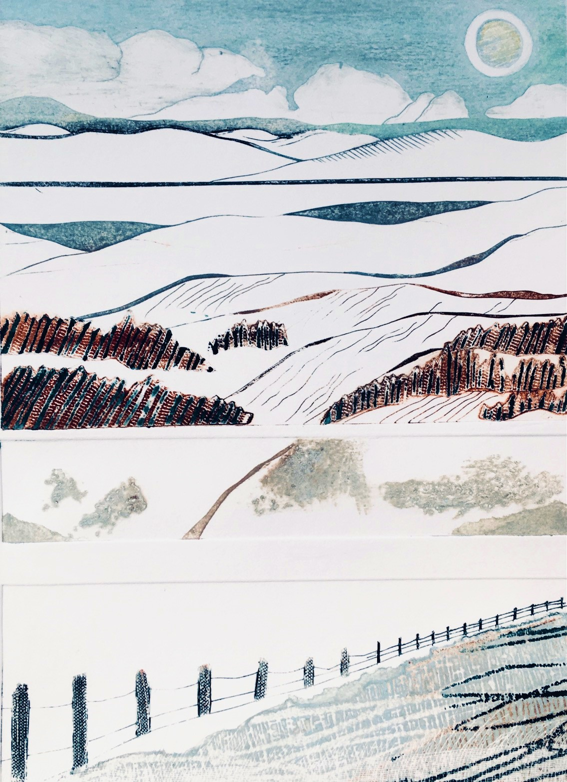 Gill Thompson. Whitescape - collagraph print