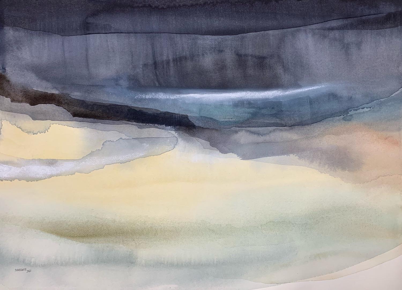 Peter Davis. Scuddrie, Watercolour, bodycolour and chalk on paper (50x70cm)