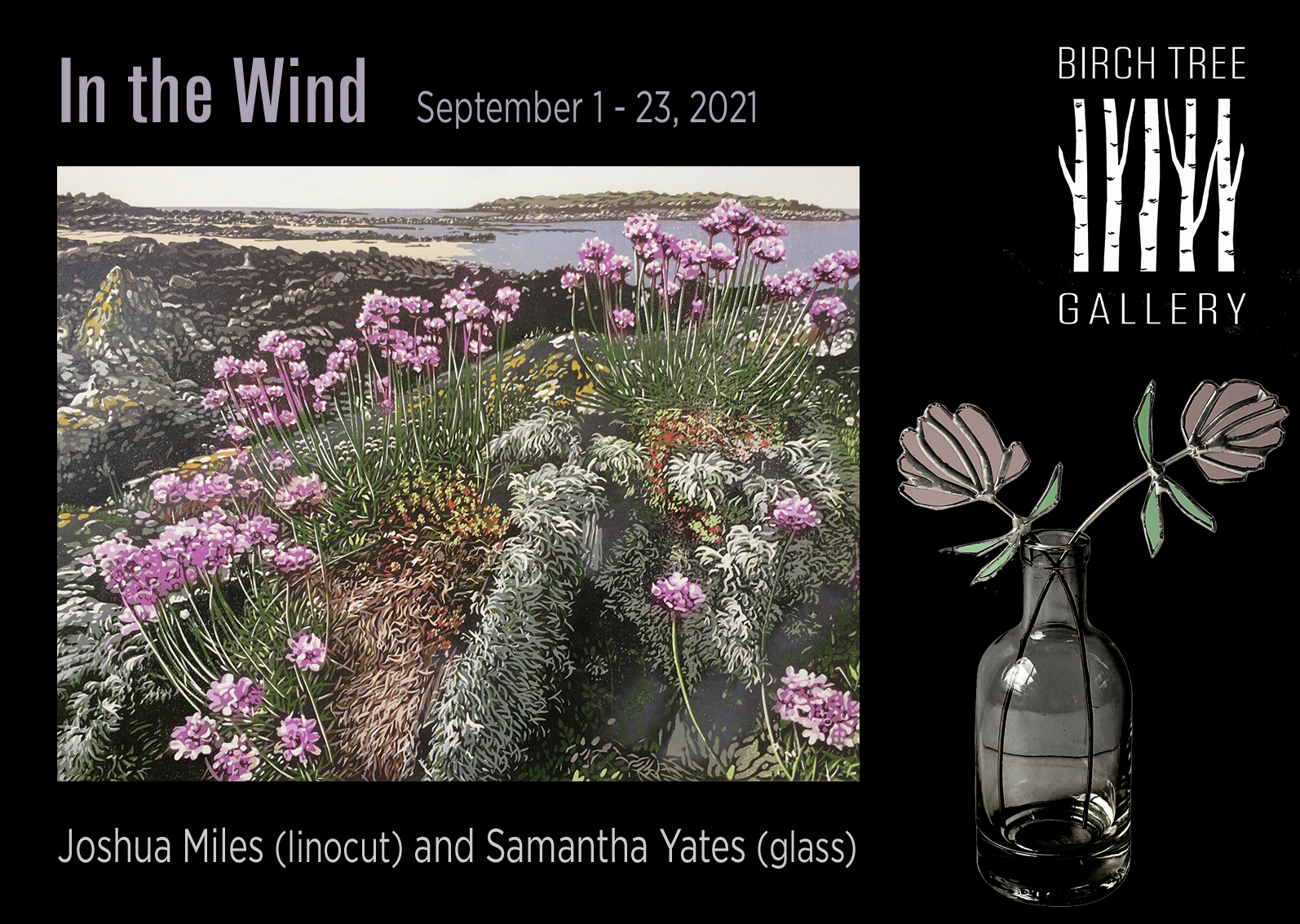 Poster for exhibition of linocut and glass 'In the Wind' in September 2021, Edinburgh