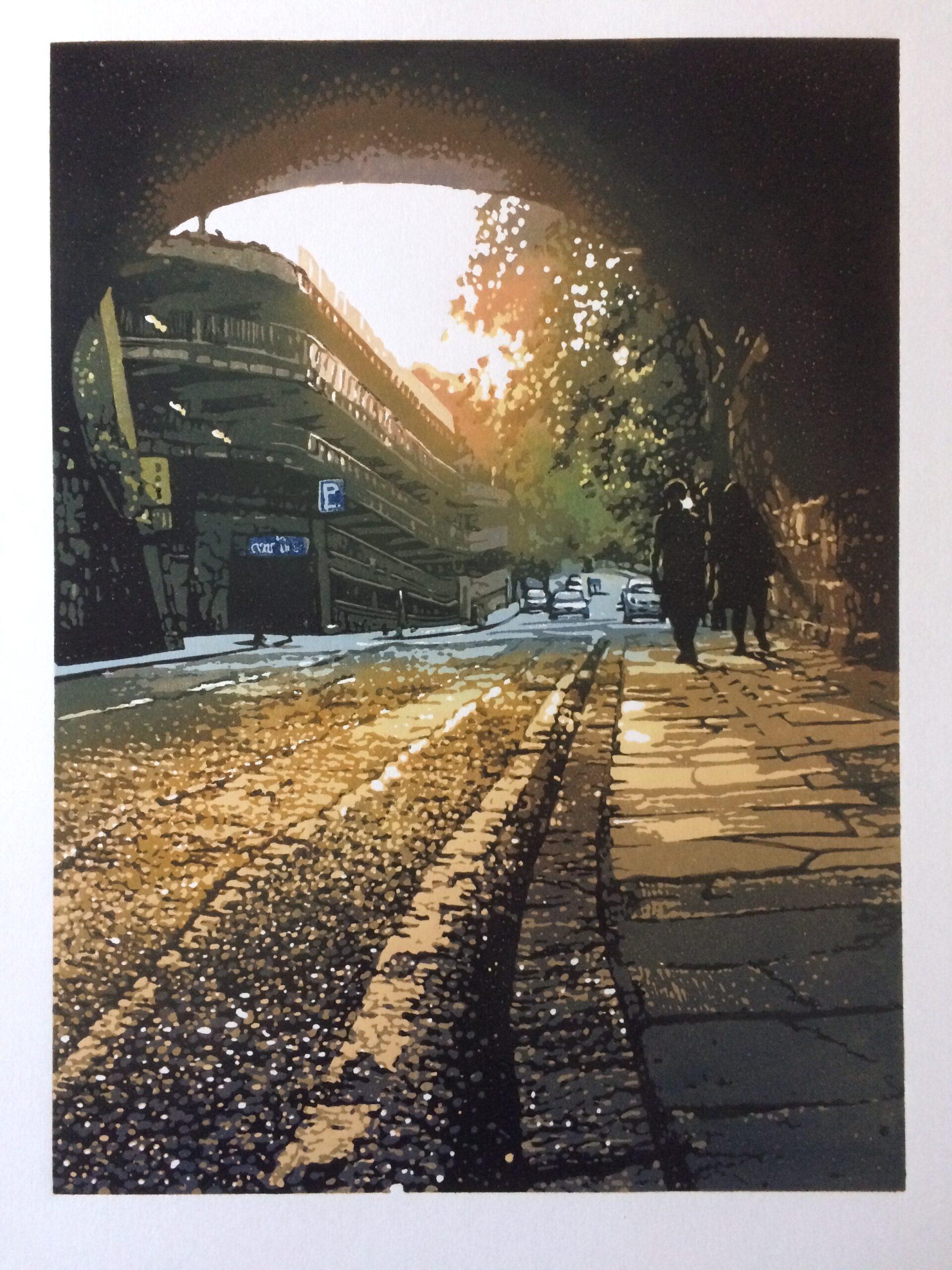 Joshua Miles reduction linocut of Edinburgh cobbled street