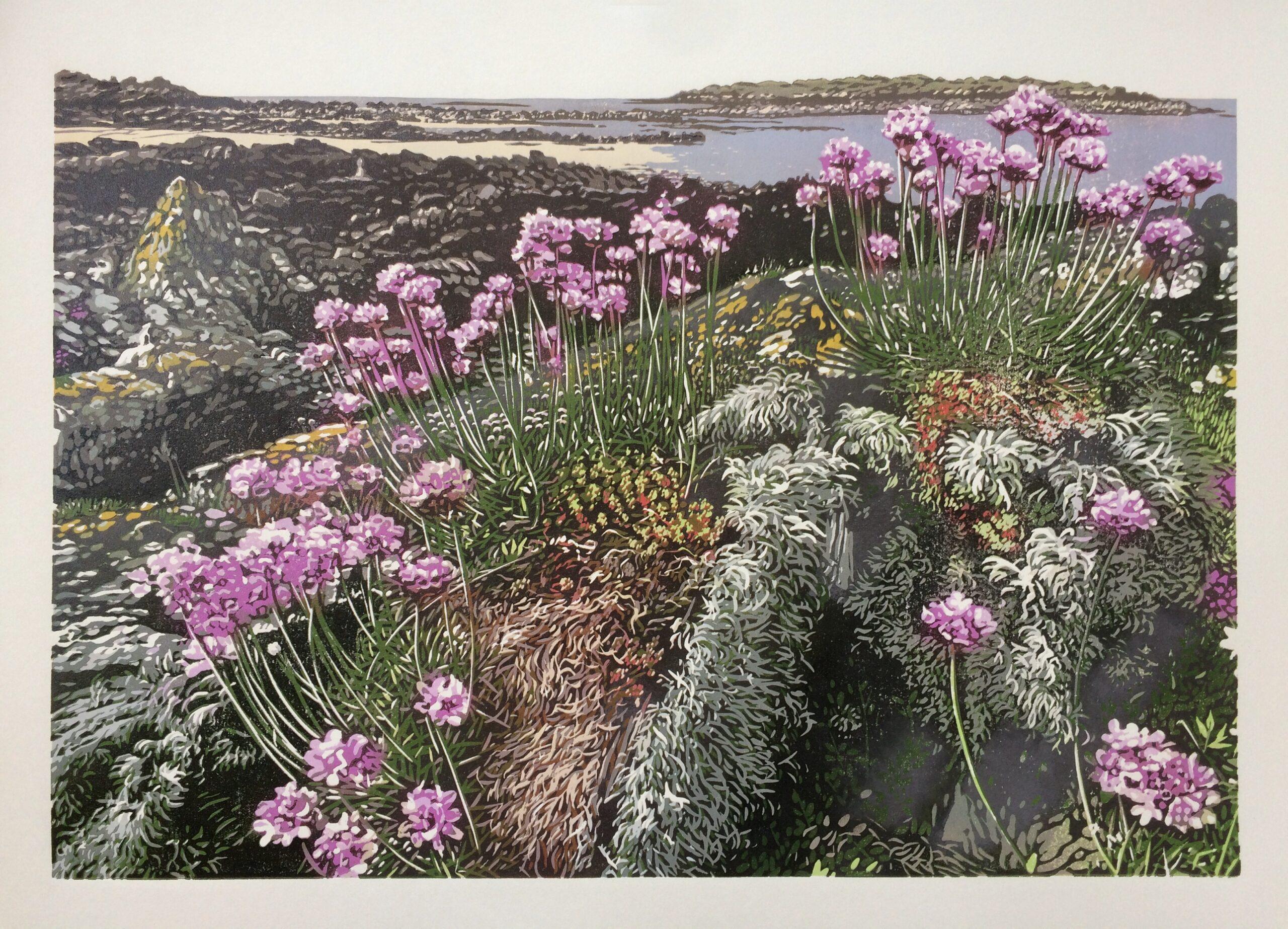 Joshua Miles reduciton linocut of coastal landscape with pink thrift flowers