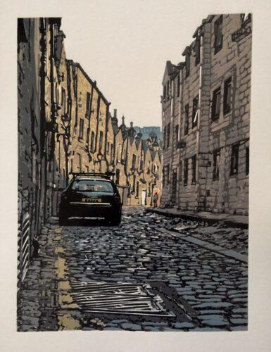Joshua Miles reduction linocut print of cobbled streed in Edinburgh, Scotland