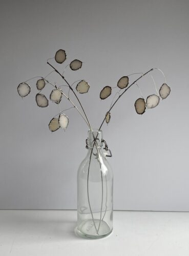 Stained glass branches of honesty by Samantha Yates.