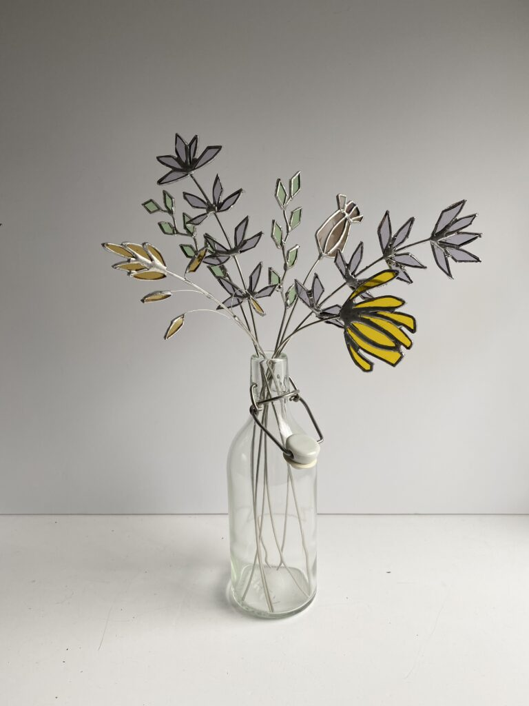 Stained glass flowers in yellow by Samantha Yates