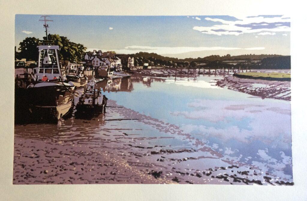 Joshua Miles reduction linocut print of boats along the river in Kirkcudbright Scotland