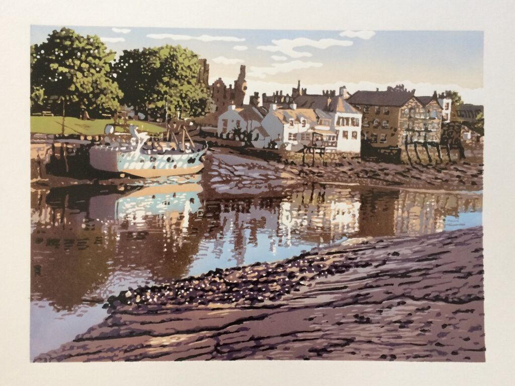 Joshua Miles reduction linocut print of house reflection in the river, Kirkcudbirght, Scotland