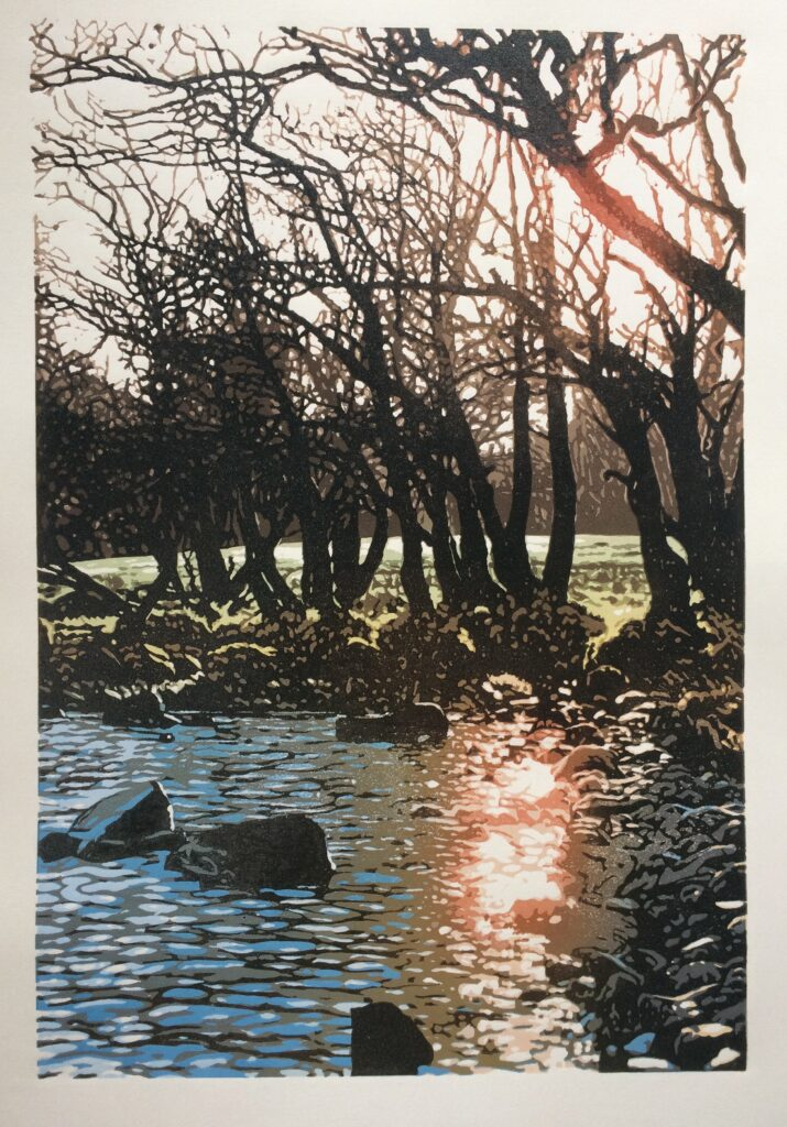 Joshua Miles reduction linocut of loch Awe sunset reflection in water