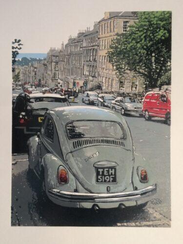 Joshua Miles reduction linocut prints of antique car in Dundas street, Edinburgh, Scotland