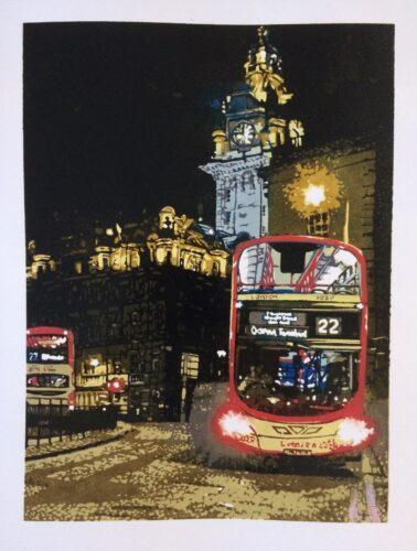 Joshua Miles reduction linocut print of Ocean Terminal bus near Balmoral Hotel, Edinburgh, Scotland