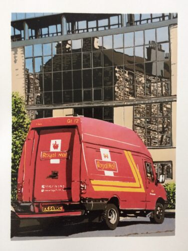 Joshua Miles reduction linocut of red postman van in Edinburgh with a refleciton of stone building on glass