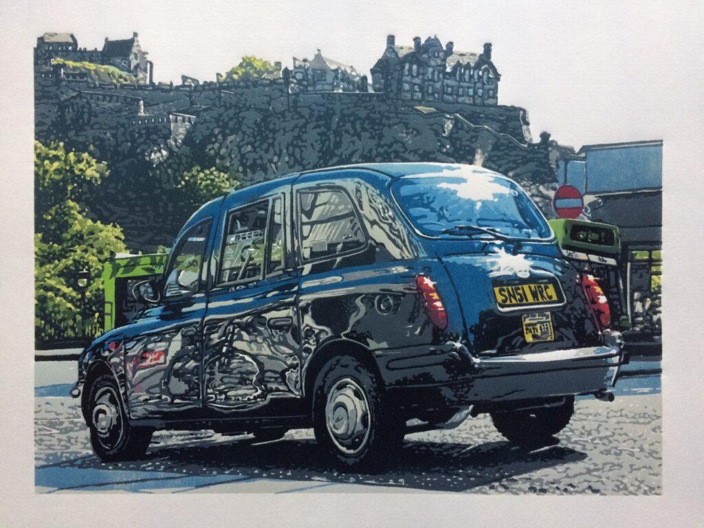 Joshua Miles reduction linocut print of city cab / taxi in front of Edinburgh castle, Scotland