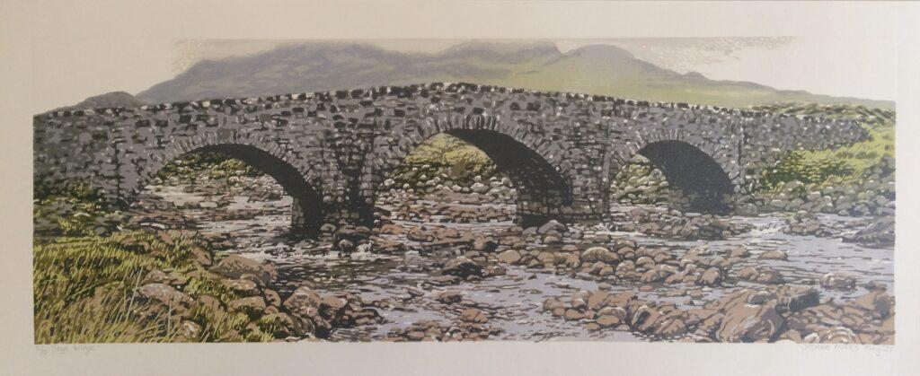 Joshua Miles reduction linocut of Skye arched stone bridge