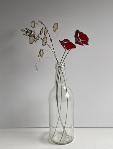 Stained glass flowers with poppies by Samantha Yates