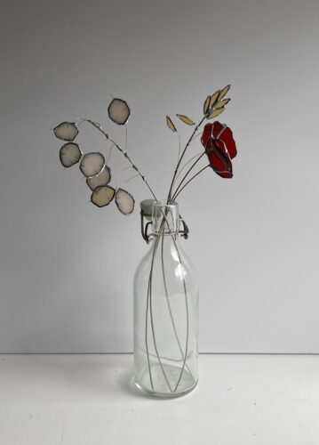 Stained glass flowers with red poppies by Samantha Yates