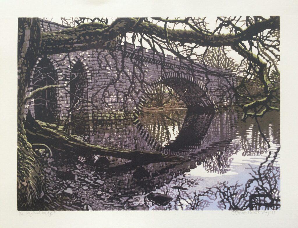 Joshua Miles reduciton linocut print of Tonguland bridge - segmental arch bridge designed by Thomas Telford, over river Dee