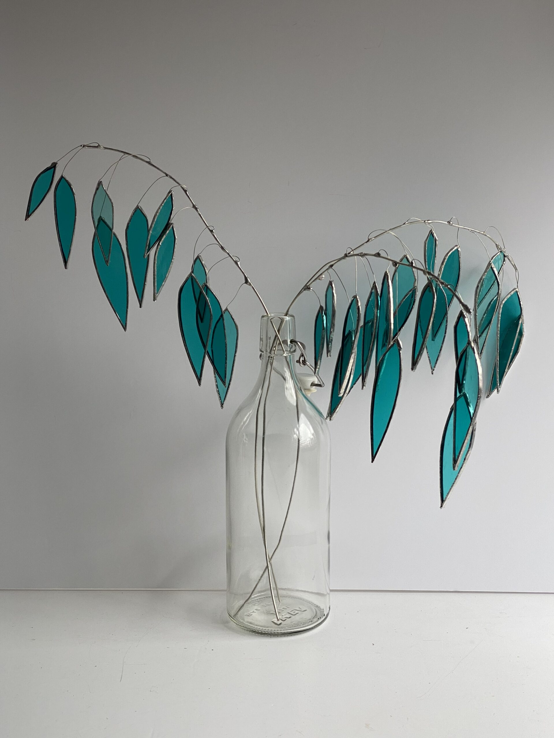 Stained glass branches of weeping willow by Samantha Yates.