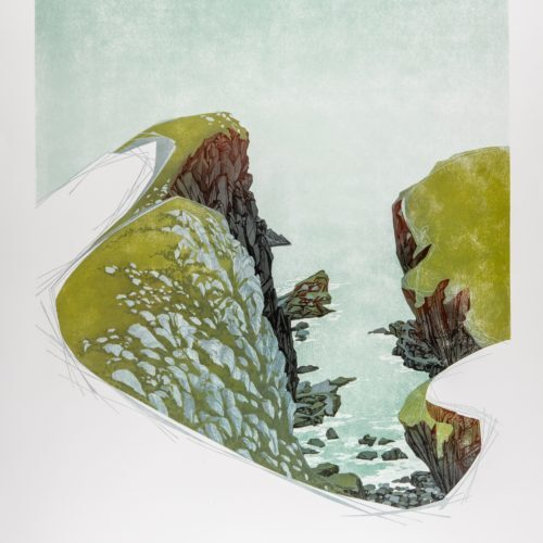 Between Cliffs, St Abbs Head (Linocut - 540 x 680 mm)- SQUARE