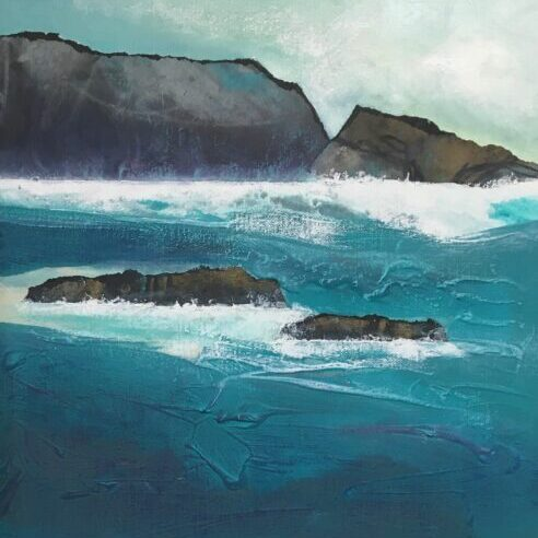 Glynnis Carter. Incoming Tide;  40x40 framed mixed media painting on canvas inspired by Scotland landscape